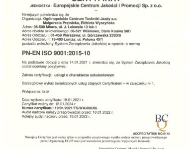 Certyfikat ISO 9001:2015-10