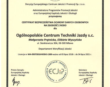 Certyfikat RODO